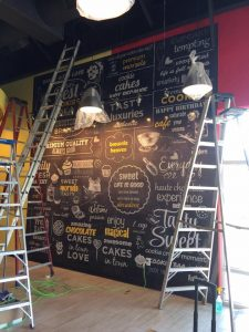 Bar Signs vinyl wall mural indoor install 225x300